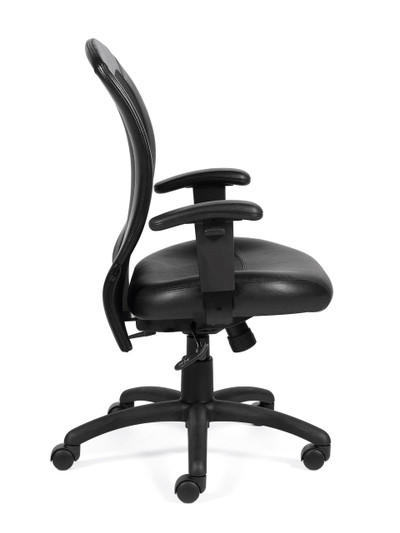 office chair side. offices to go luxhide adjustable mesh back ergonomic chair side view office