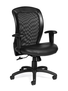 Offices to Go Luxhide Adjustable Mesh Back Ergonomic Chair