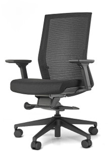 Black frame with Black seat upholstery and standard black base and adjustable arms