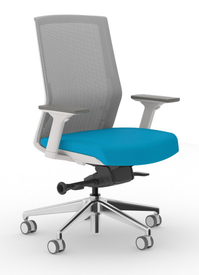 Zilo Grey Frame Conference Task Chair in Sky with 3-way adjusting arms, aluminum base