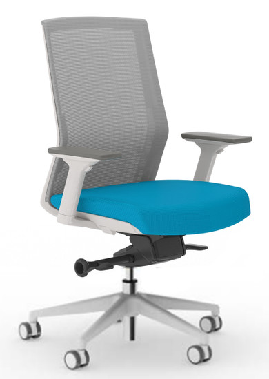 Zilo Grey Frame Conference Task Chair in Sky with 3-way adjusting arms, grey base