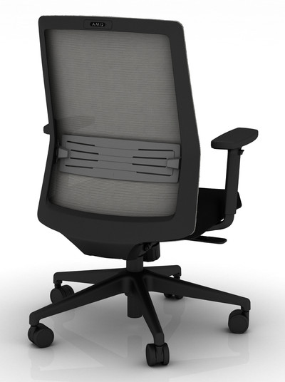 Bodi Synchro-Tilt Task Chair with black frame and mesh,  Black seat cover fabric