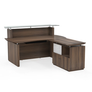 "Sterling Reception Suite 72"" with return/lateral file in Textured Brown Sugar (STG34)"