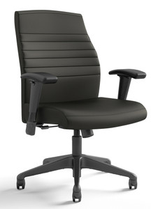 Fino Mid Back Tasker in Onyx Canter Vinyl, height adjusting arms and black base