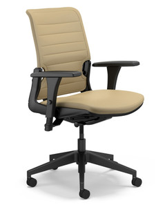 InSync Body Balance Mid Back Tasker in Canter Vinyl Earth, with black base and standard height adjustable arms