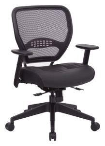Air Grid® Back Managers Chair with black bonded leather seat