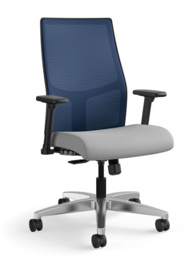 Ignition Mesh Mid-Back Task Chair in Centurion Frost seat with Navy mesh and aluminum base