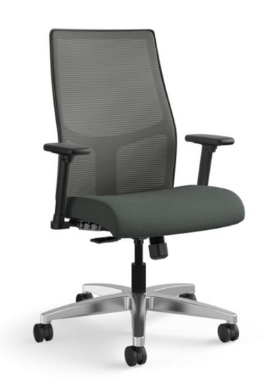 Ignition Mesh Mid-Back Task Chair in Centurion Iron Ore seat with Charcoal mesh and aluminum base
