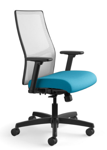Ignition Mesh Mid-Back Task Chair in Centurion Peacock seat with Fog mesh and black base