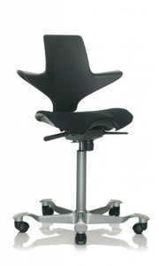 HAG Capisco Quickship Puls Saddle Chair with Upholstered Seat in black