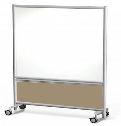 Symmetry Mobile Porcelain Steel Dry Erase Whiteboard with Fabric Panel in Caraway