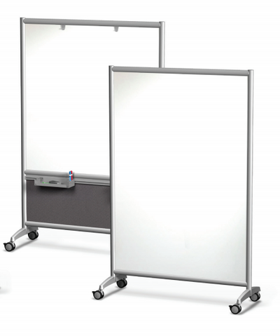 Symmetry Mobile Porcelain Steel Dry Erase Whiteboard with Folkstone Panel and Accessories