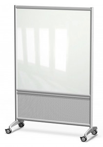 Symmetry Mobile Glass Dry Erase Whiteboard with Folkstone Grey Lower Panel