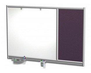 Symmetry Magnetic Dry Erase Wall Mounted Whiteboard with 1/3 Fabric Panel