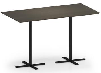 "Avon Rectangular Table, 42""H in Walnut laminate and black base"