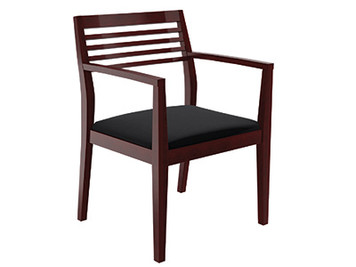 Compel Wood Frame Strata Guest in Luna Cherry (LC) wood finish, black Flexi fabric seat