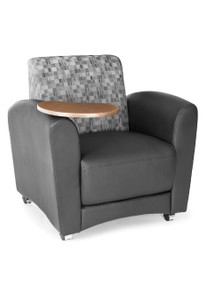 interplay lounge chair with tablet black and nickel fabric back