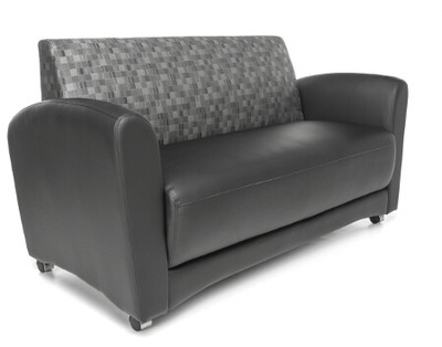 Interplay Sofa Without Tablet, Black Polyurethane With Nickel Fabric Back
