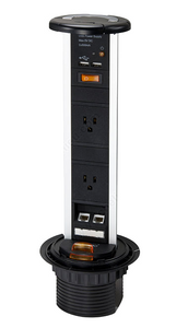 Two Plug Pop-Up Power Bar, black plastic with ethernet ports