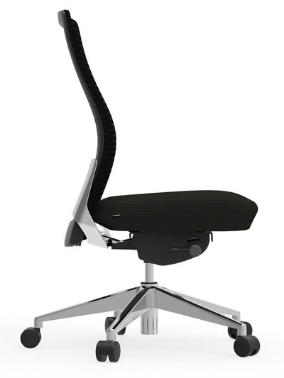 Eon Mid-Back Task with black frame with matching black mesh, seat and arm pads, armless