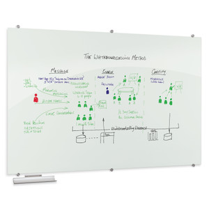 Visionary® Opaque White Magnetic Glass Dry Erase Whiteboard