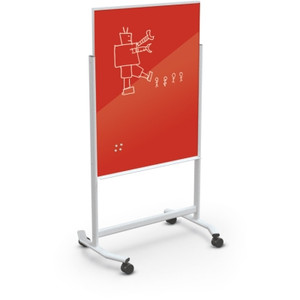 Visionary® Move Magnetic Glass Dry Erase Board, Deep Red