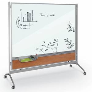 inmotion magnetic whiteboard amber cherry laminate on lower panel - Rolling Whiteboard