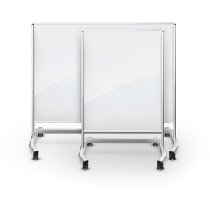 Visionary® Move Magnetic Glass Dry Erase Board, Opaque White with Silver Frame