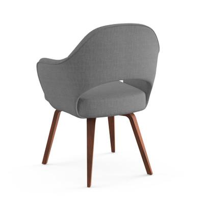 KnollStudio Saarinen Executive Arm Chair, Classic Boucle Smoke With Light  Walnut Legs