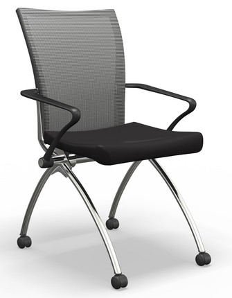 Mayline Valoré Upholstered Training High Back Nesting Chair In Black Seat  Fabric