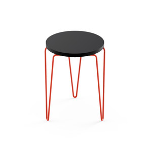 KnollStudio Hairpin Stacking Table, black top and red base