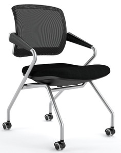 Mayline Valoré Training Mid-Back Nesting Chair with black mesh back