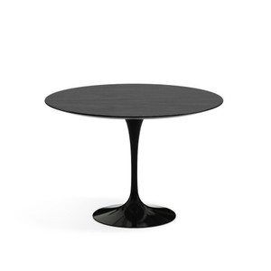 "Eero Saarinen Round Dining Table, 42"" Ebonized Walnut Veneer with black base"