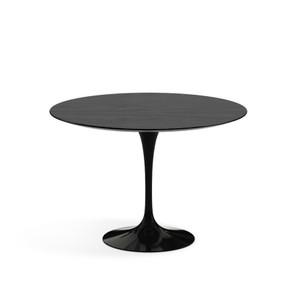 "Eero Saarinen Round Dining Table, 42"" Ebonized Walnut Veneer with black base"
