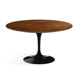 "Eero Saarinen Round Dining Table, 54"" Rosewood Veneer on black base"