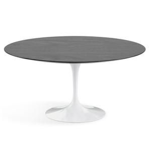 "Eero Saarinen Round Dining Table, 60"" Ebonized Walnut Veneer on white base"