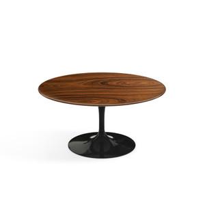 """Eero Saarinen Round Coffee Table, 35"""" Rosewood Veneer with black base"""