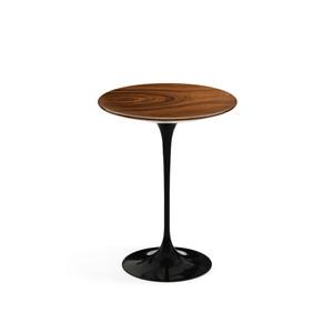 """Eero Saarinen Round Side Table 16"""", Rosewood Veneer with black base"""