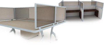 Desk & Cubicle Mount Privacy Panels with Polycarbonate Panel in Bronze and Aluminum Frame