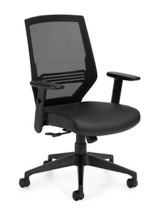 High Back Mesh with Patterned Black Luxhide Seat