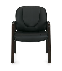 Luxhide Guest Chair with Espresso Wood Accents