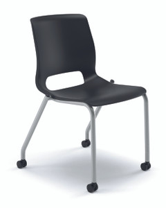 Motivate 4-Leg Stacking Chair, Platinum frame, Onyx shell