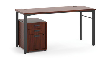 "Manage 60"" Table Desk with Mobile Pedestal, Chestnut"