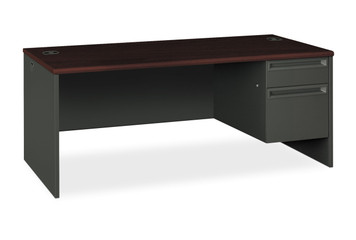 Hon 38000 Series Single Pedestal Desk, Right Handed, in Charcoal and Mahogany