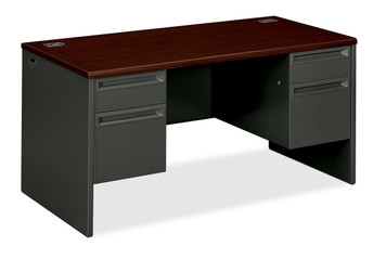 Hon 38000 Series Double Pedestal Desk, in Charcoal and Mahogany