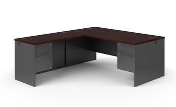 Hon 38000 Series L-Workstation in Charcoal and Mahogany, right handed