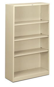 Brigade Steel Bookcases, Four Shelf in putty