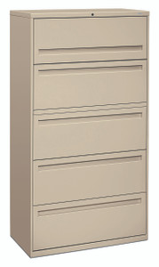 "Brigade 700 Series Five Drawer Lateral File, 36"" in Putty (L)"