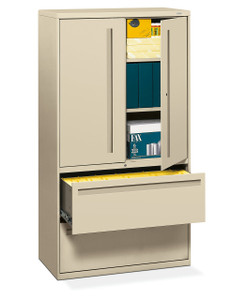 "Brigade 700 Series Two Drawer Lateral File with Storage, 36"" in Putty (L)"