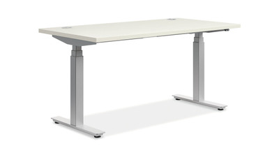 "Coordinate Height-Adjustable Desk, 60"" x 30"" White with glides"